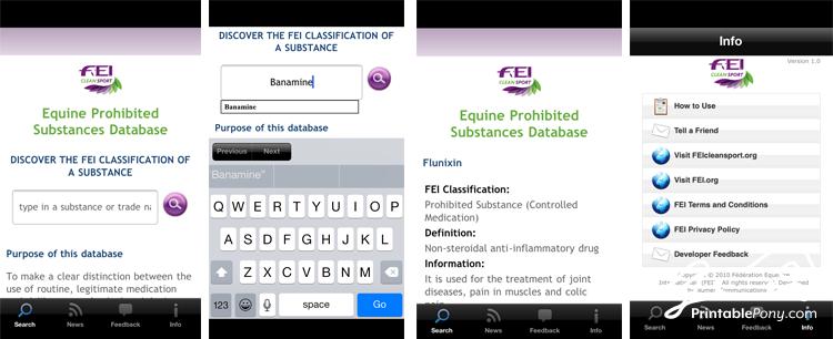 FEI CleanSport Free Horse App Screenshots
