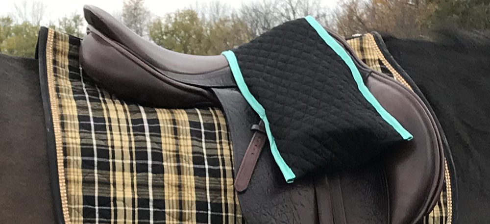 The Printable Pony Black and Teal Quilt Over the Pommel Stirrup Cover