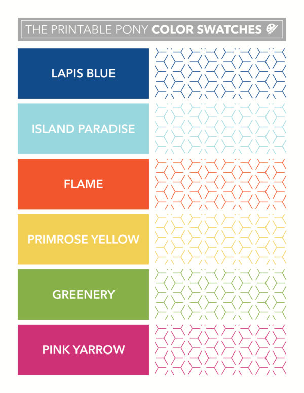 The Printable Pony Color Swatches